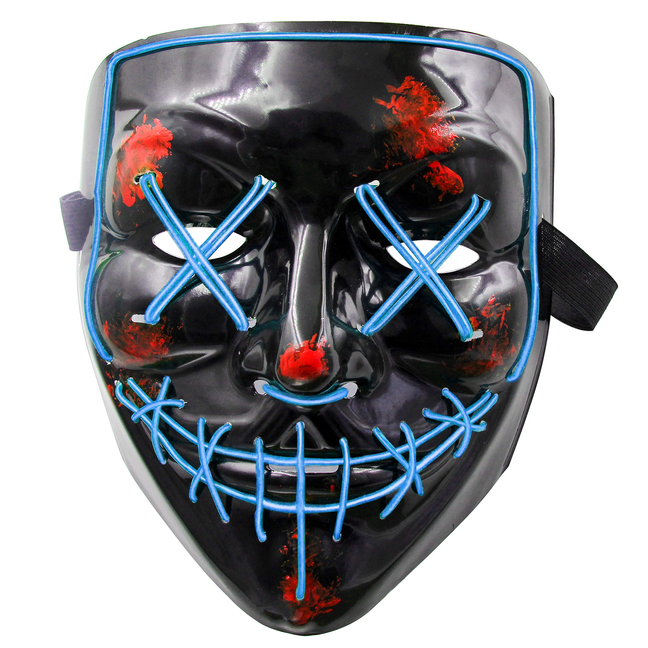 heytech LED Mask Halloween Scary Mask Cosplay LED Costume Mask Light up for Halloween Festival Party(Blue) by heytech