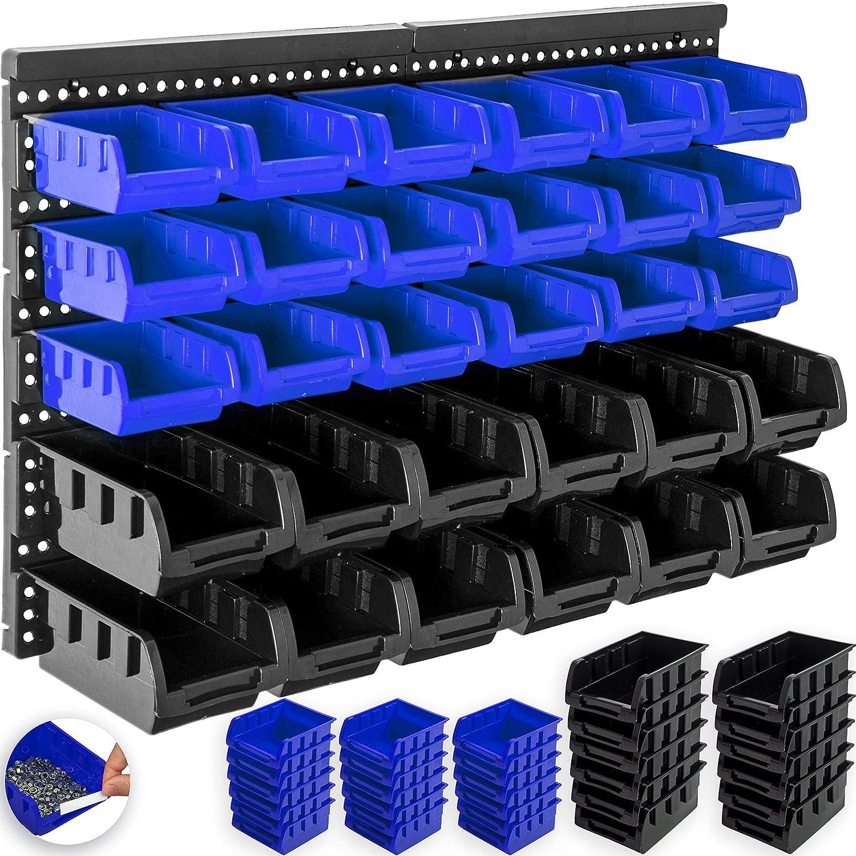 Schwarz//Blau Masko/® Stapelboxen Wandregal 32tlg Box Sichtlagerk/ästen Sch/üttenregal Steckregal
