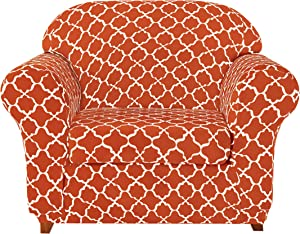 Subrtex Sofa Slipcovers Stretch Printed Couch Covers 2-Piece Spandex Furniture Cover Protector Armchair Cover Home Decor(Chair, Orange)