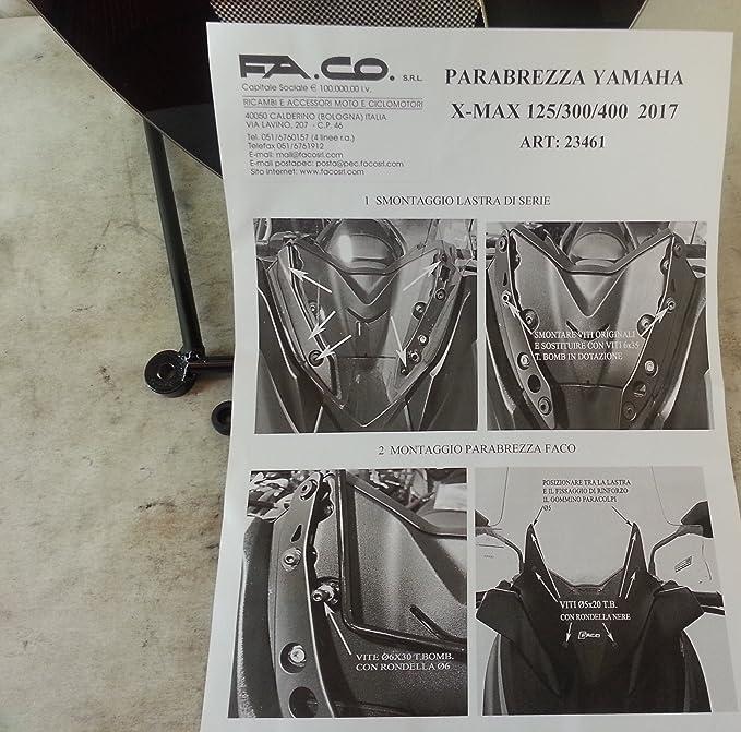 PARABREZZA YAMAHA X-MAX 2017 con serigrafia spessore 4 mm PARAVENTO art.23461
