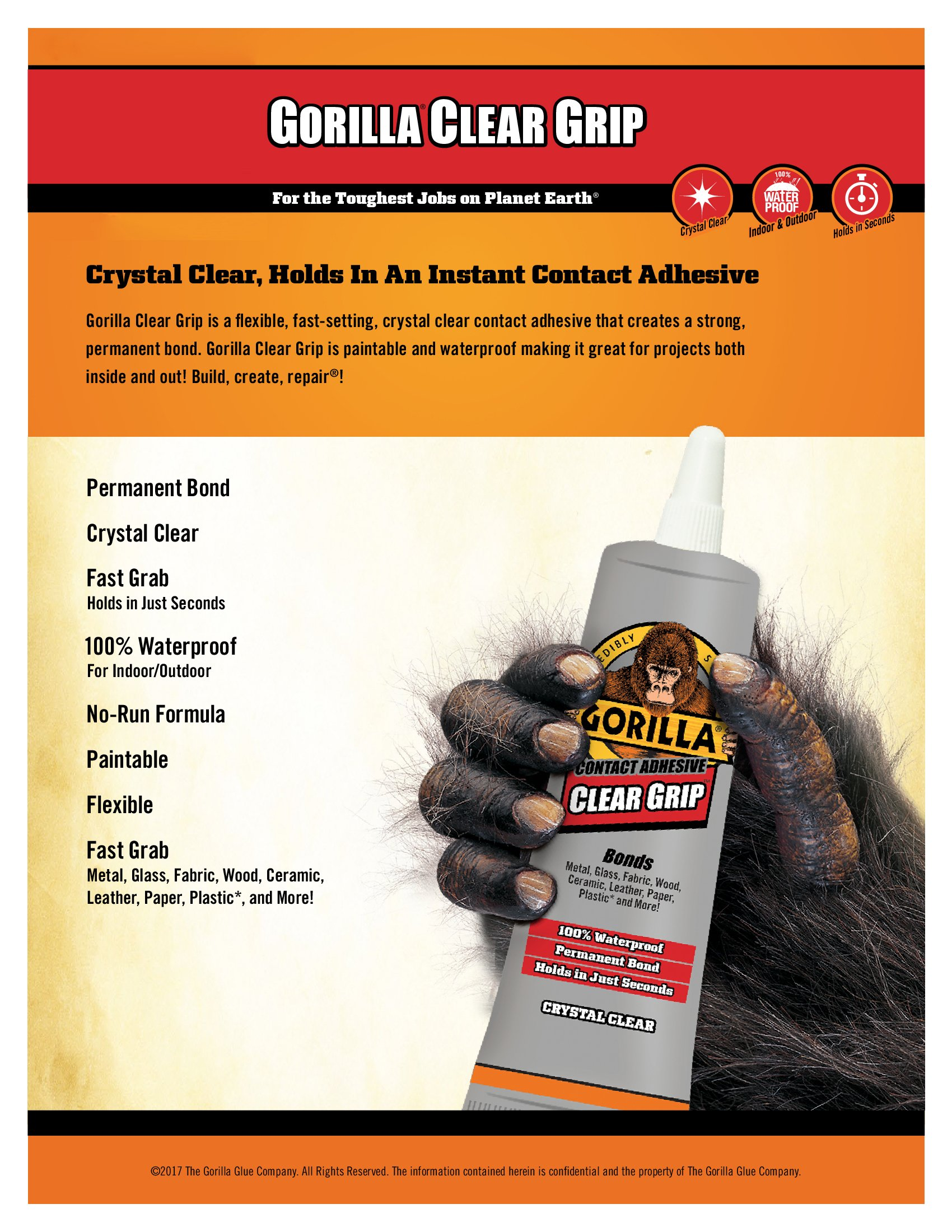 Gorilla Clear Grip Contact Adhesive, Waterproof, 3 ounce, Clear, (Pack of 3) by Gorilla (Image #2)