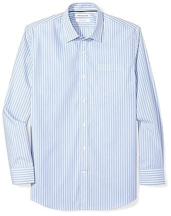 e17d41710fb4 Amazon Essentials Men s Regular-Fit Wrinkle-Resistant Long-Sleeve Stripe Dress  Shirt