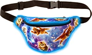 KANDYPACK Light Up Rave Fanny Pack with Hidden Pocket (Galaxy Cat)