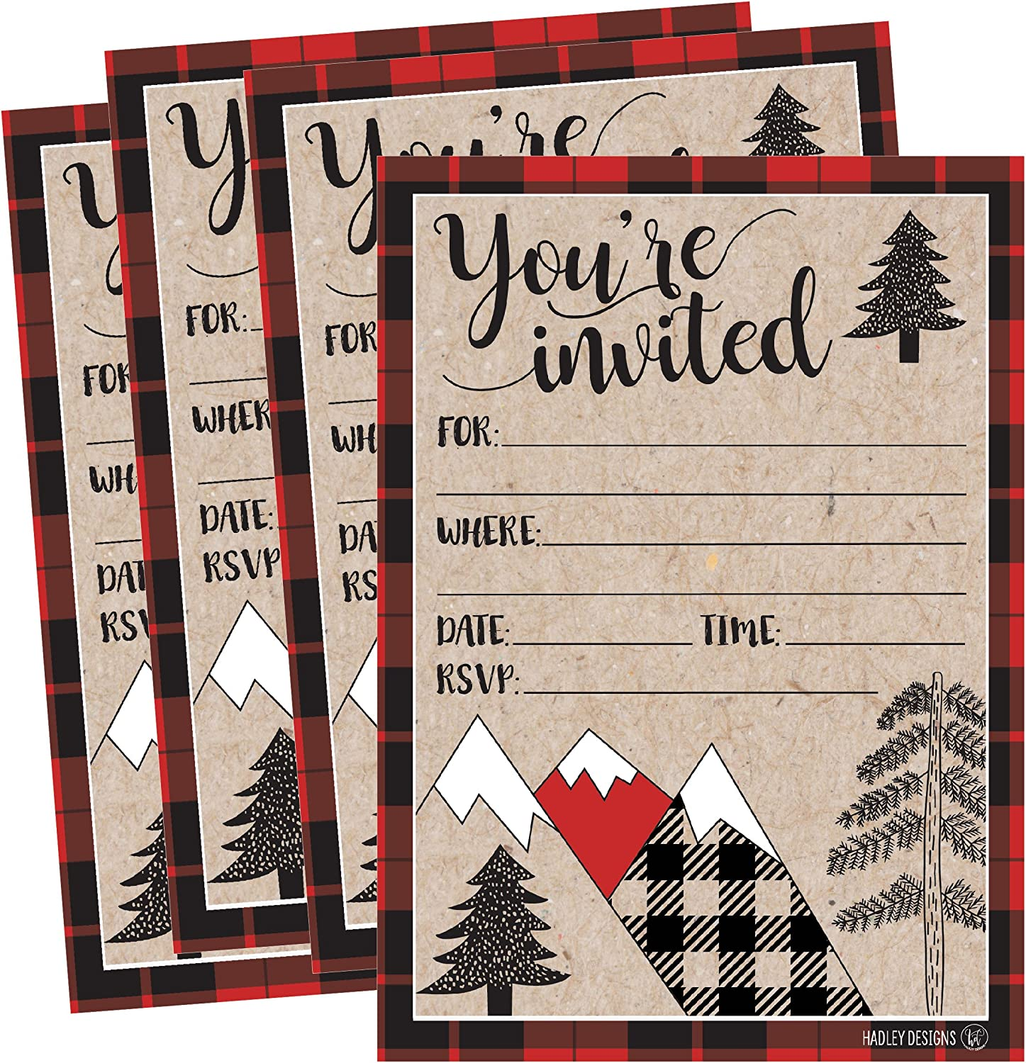 25 Plaid Woodland Holiday Invitations, Rustic Kraft Christmas Winter New Years Xmas Dinner Party Invite, Mountain Adult Kid Birthday Festive Event Themed Card, Forest Baby Bridal Shower Idea Supplies