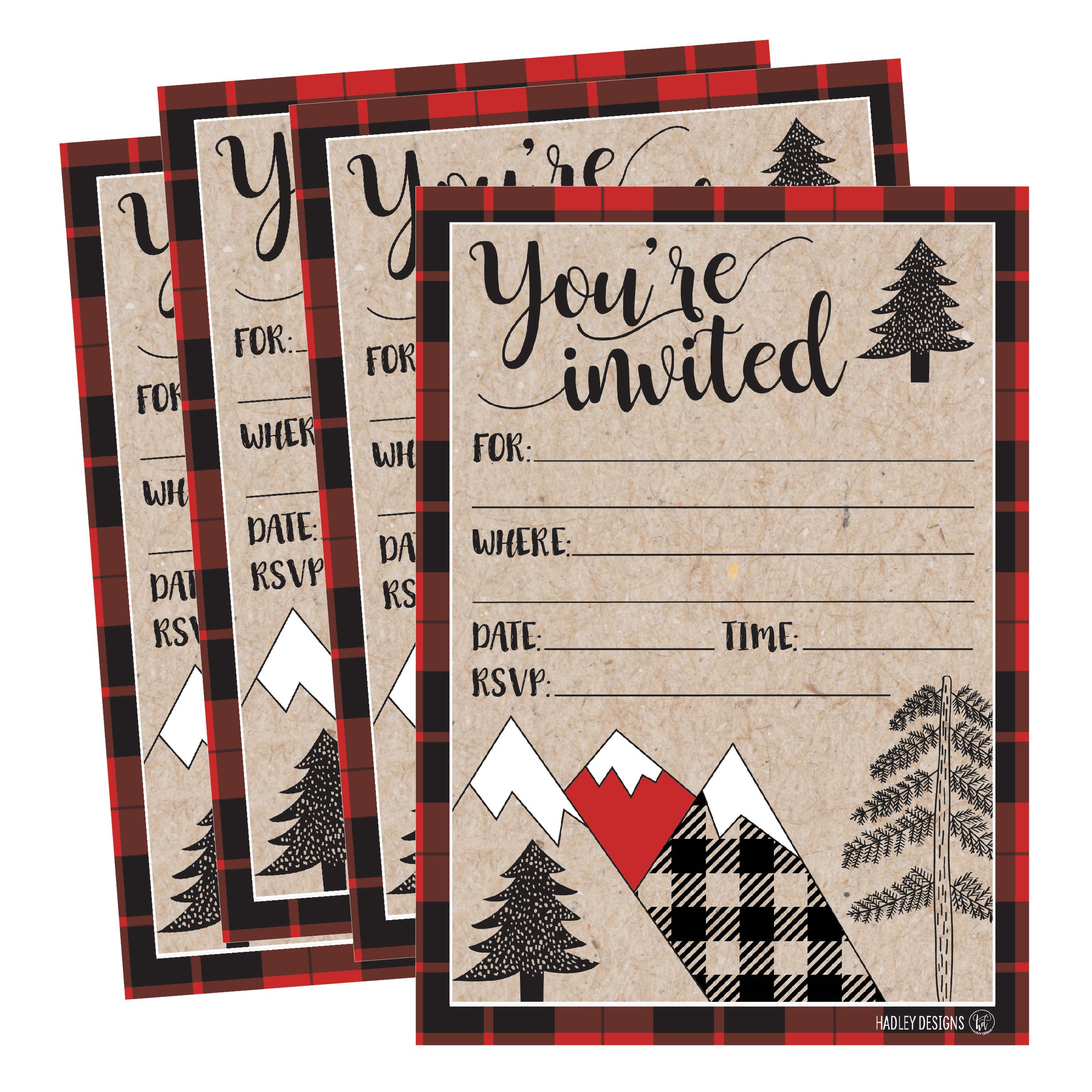 Amazon.com: 25 Woodland Christmas Holiday Invitations, Snowflake ...