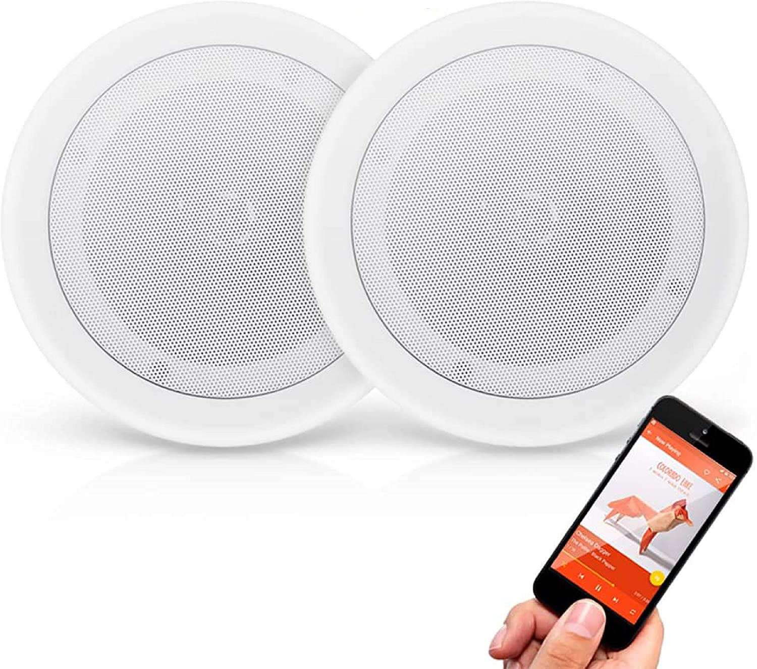 Amazon Com Pyle Pair 8 Bluetooth Flush Mount In Wall In Ceiling 2 Way Universal Home Speaker System Spring Loaded Quick Connections Polypropylene Cone Polymer Tweeter Stereo Sound 250 Watts Pdicbt852rd Home Audio Theater