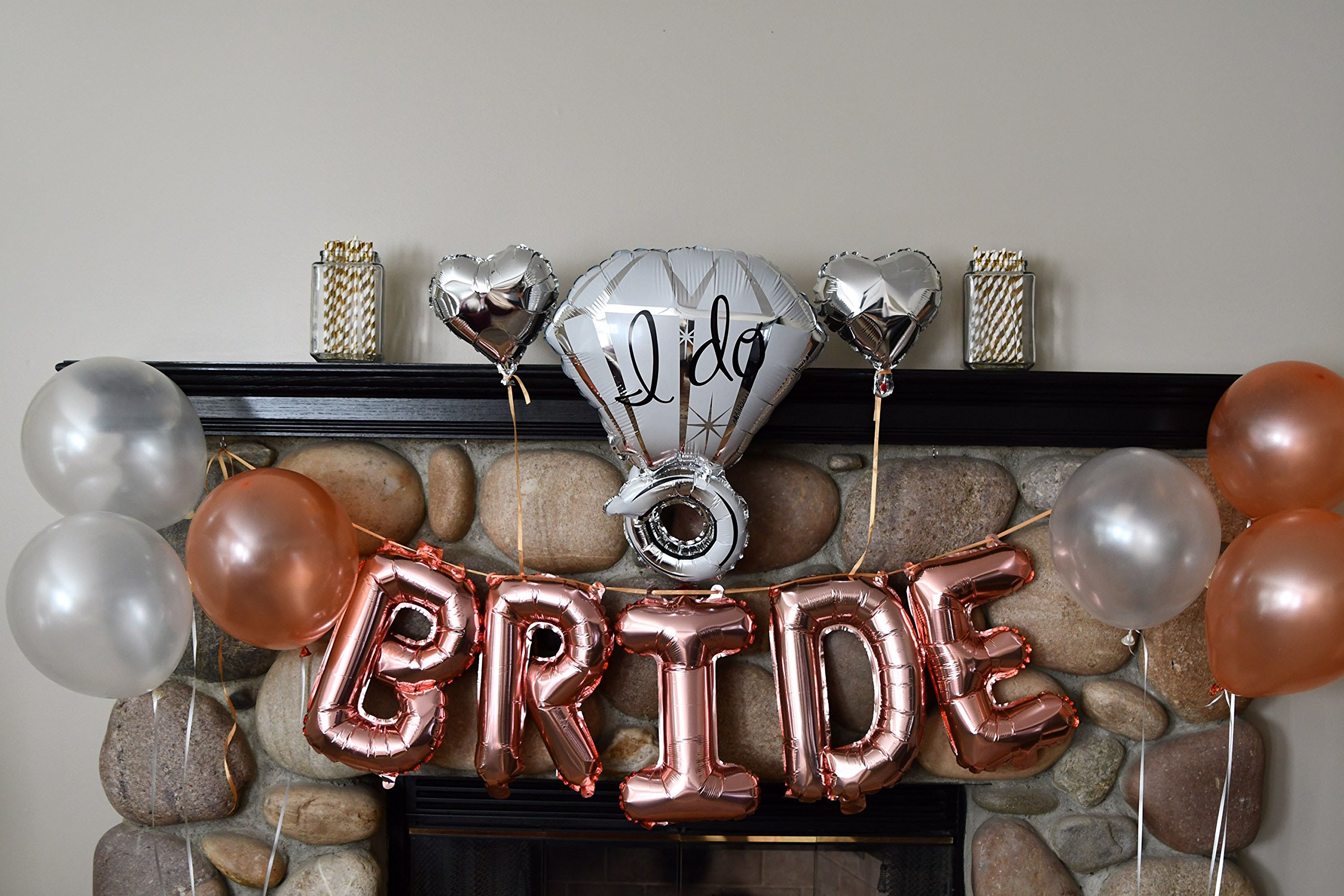 Bachelorette Party Decorations Pack - Rose Gold Party Supply Kit with Rose Gold, White Pearl and Silver Heart Balloons + Rose Gold Straws + The Bride Sash + Bride Foil Banner and Diamond Ring Balloon by Party Simple (Image #2)
