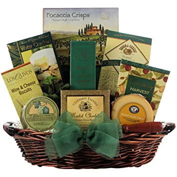 Christmas gift packages wine and cheese