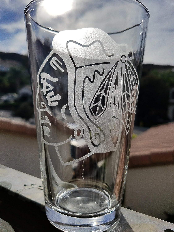 Blackhawks Hockey Inspired 16 oz. Pint Glass NHL Beer Glasses Chicago