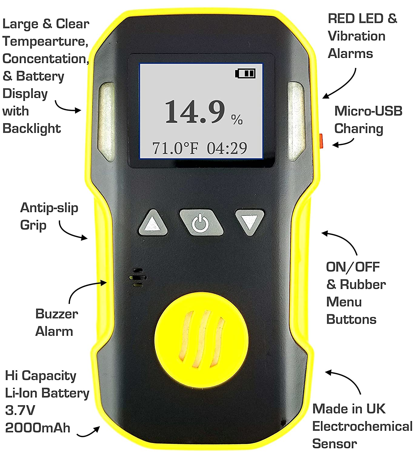 OXYGEN O2 Detector & Analyzer by FORENSICS | Professional Series | Water, Dust & Explosion Proof | USB Recharge | Sound, Light and Vibration Alarms | 0-30% ...