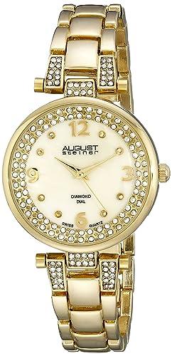 August Steiner Reloj de Oro de Cuarzo Suizo de la Pantalla analógica para Mujer: Amazon.es: Relojes