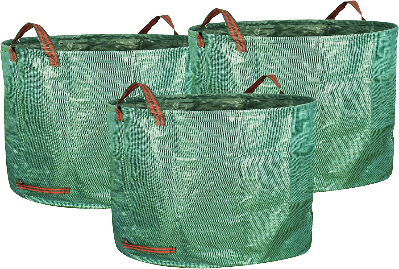 Gardzen 3-Pack 16 Gallons Garden Bag - Reuseable Heavy Duty Gardening Bags, Lawn Pool Garden Leaf Waste Bag