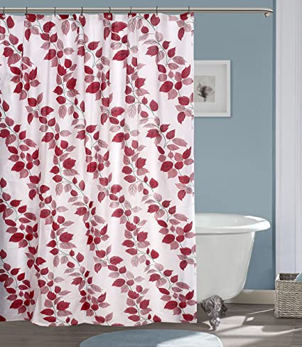 Yellow Weaves PVC Floral Shower Curtain with 8 Hooks (54x80-inches, Red)
