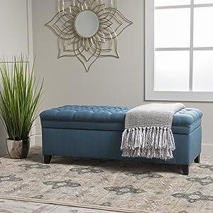 GDF Studio Laguna Living Room Furniture ~ Tufted Fabric Storage Ottoman (Blue)