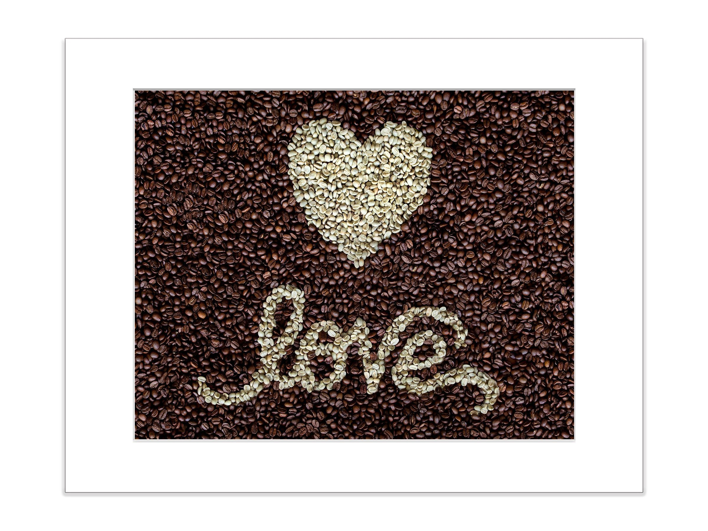 Kitchen Artwork Coffee Bean Wall Decor 8x10 Matted Print Love Heart Sign