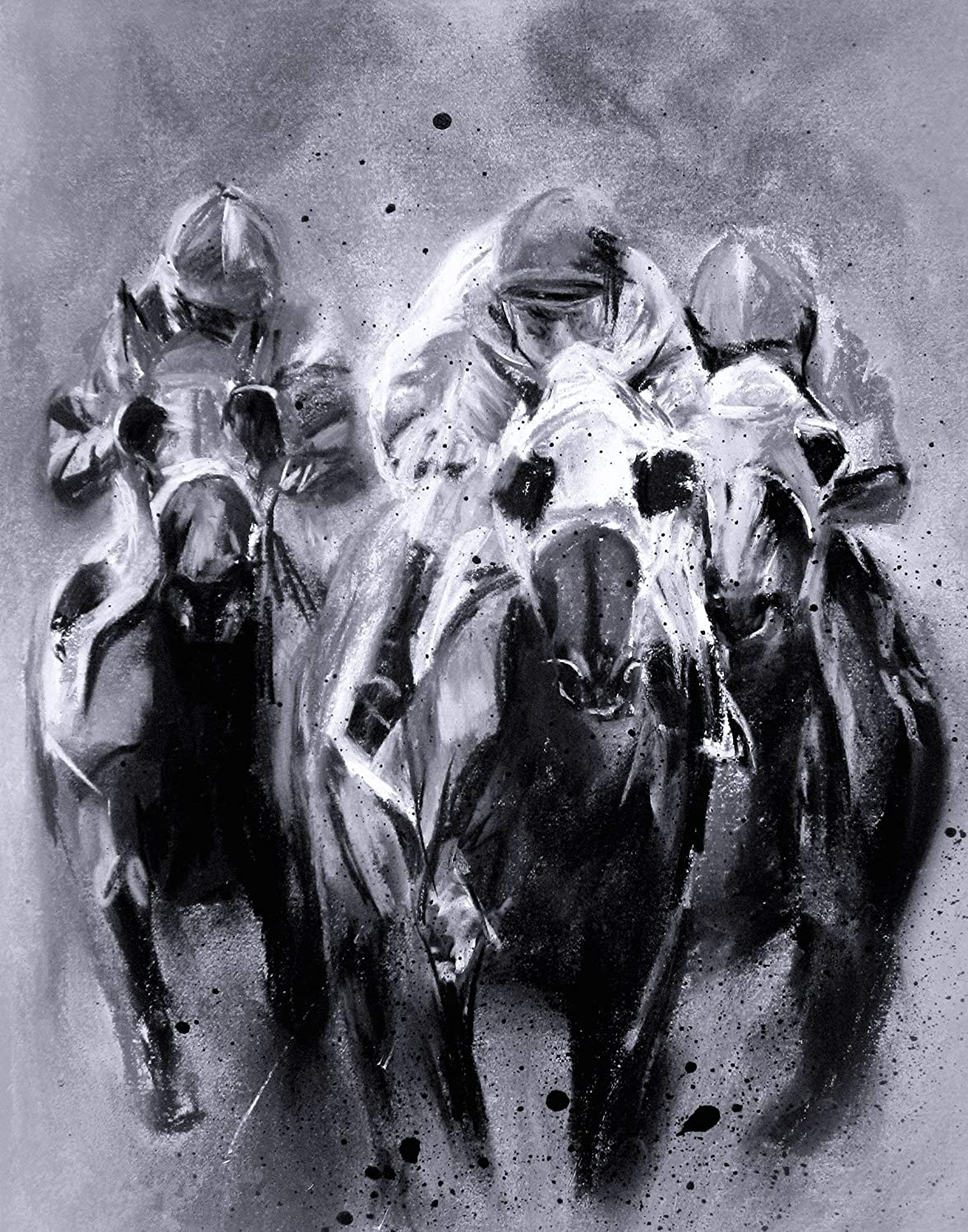 Amazon Com Racing Trio In Black And White Contemporary Race Horse Fine Art Print 11 X 14 Inch From Original Pastel Painting Handmade