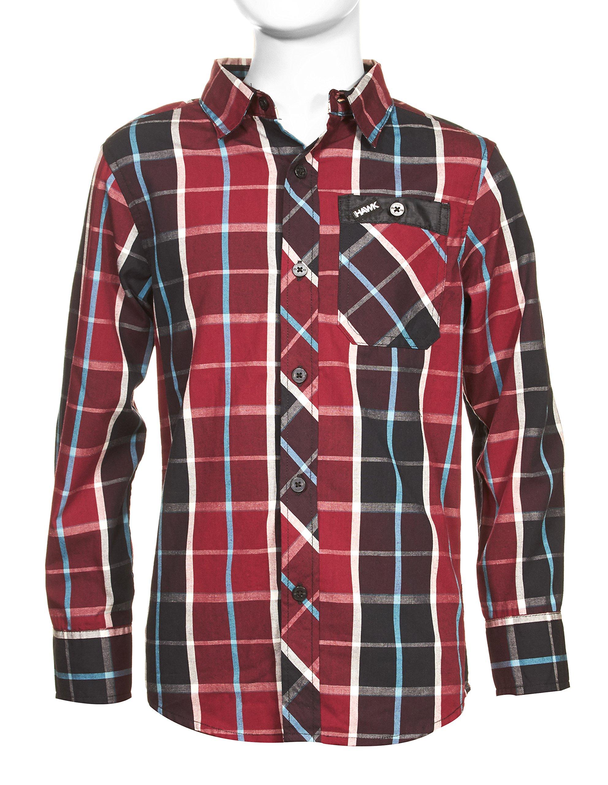 Tony Hawk Boys Long Sleeve Button Down Plaid Shirt RED 10/12