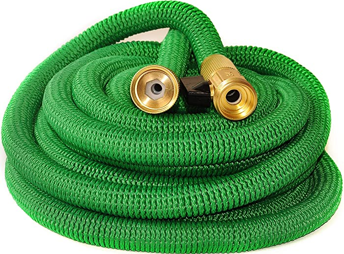 Riemex Expandable Hose Green [New 2019] Heavy Duty Garden Water Hose - Triple Latex - Expanding Solid Brass Metal Fittings Connectors, Flexible Strongest - for All Watering Needs (100 FT)