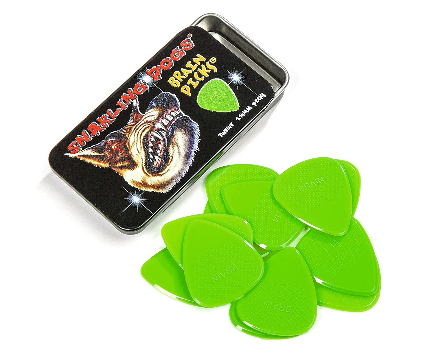Snarling Dogs Brain Guitar Picks Green .53 mm 12 picks with Tin Box