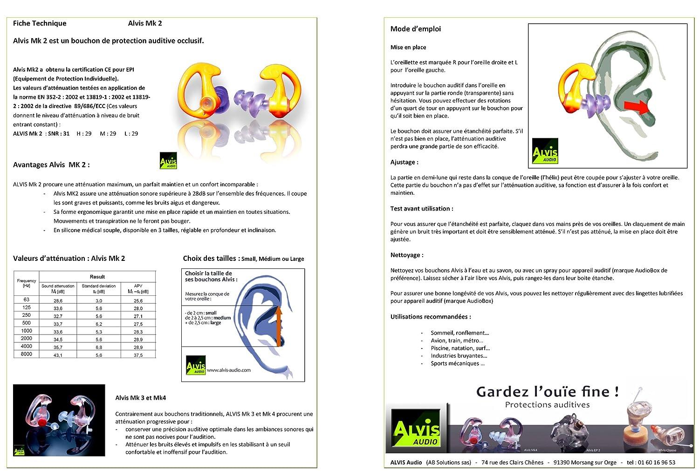 Alvis Mk2S Paire de Protections auditives Taille S