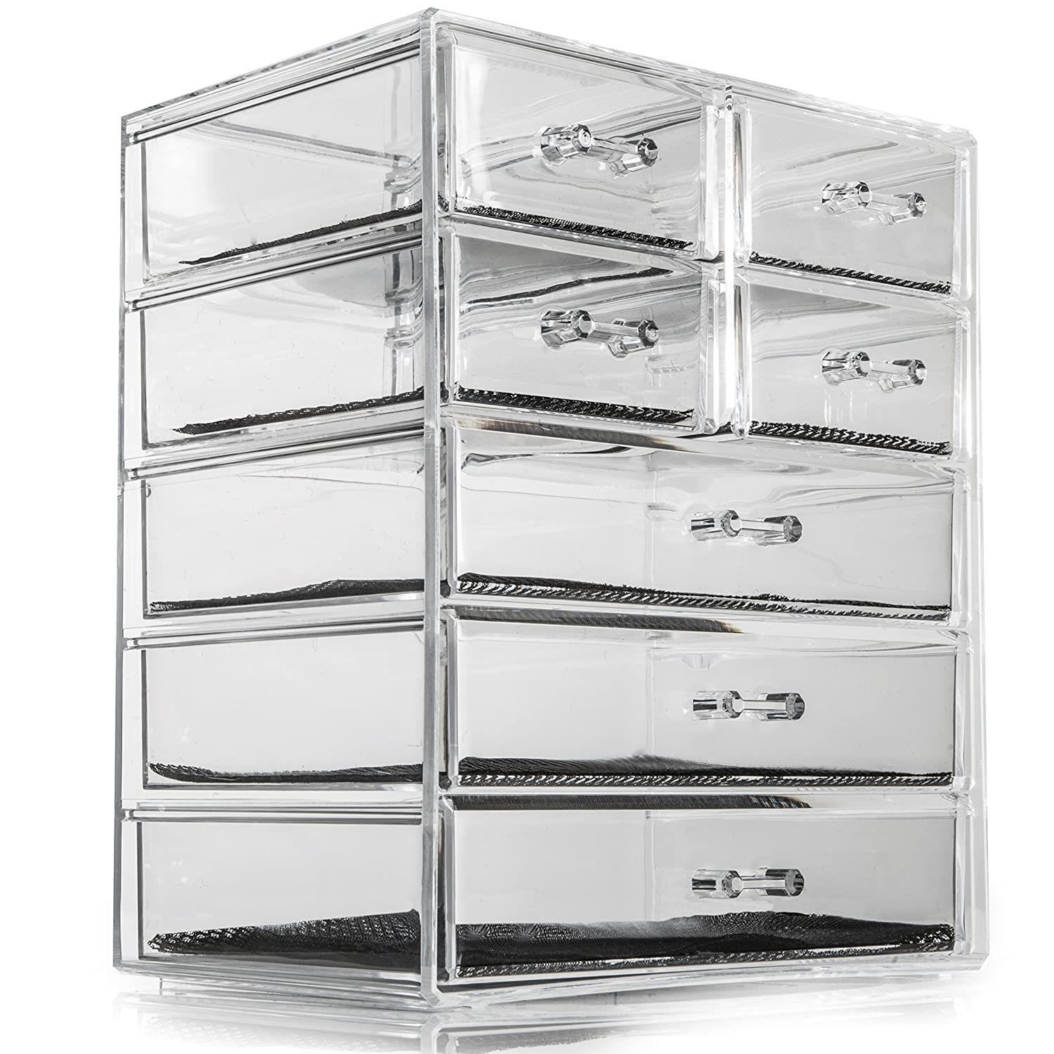 Acrylic Makeup Organiser SO02889 Deluxe Large 7 Clear Drawers for Make-up, Jewellery, Cosmetic Organiser, 24 x 17 x 29cm Storage Case Perfect for Organising Small Items Soidea