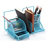 Vencer Versatile Office Supply Caddy, Desk Organizer and File Stand (Light Blue)