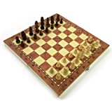 Chess Set Fold Away Board Quality Handmade Wooden Pieces Complete FIDE Compliant Stimulate Your Brain Exercise Your Mind 34 cm 340 mm 14 inch