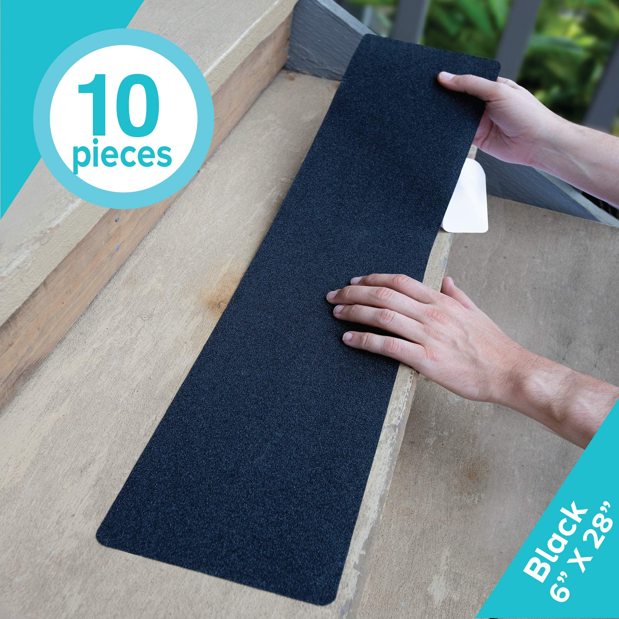 LifeGrip Anti Slip Traction Treads (10-Pack), 6 inch X 28 inch, Best Grip Tape Grit Non Slip, Outdoor Non Skid Tape, High Traction Friction Abrasive Adhesive for Stairs Step, Black by LifeGrip Stay on Track