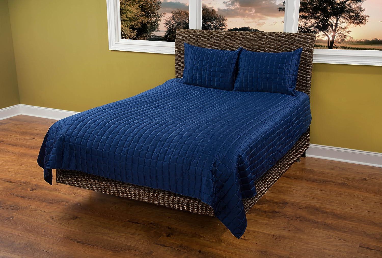 Rizzy Home Satinology Quilt Queen Aqua Blue QLTBT1673QB009092
