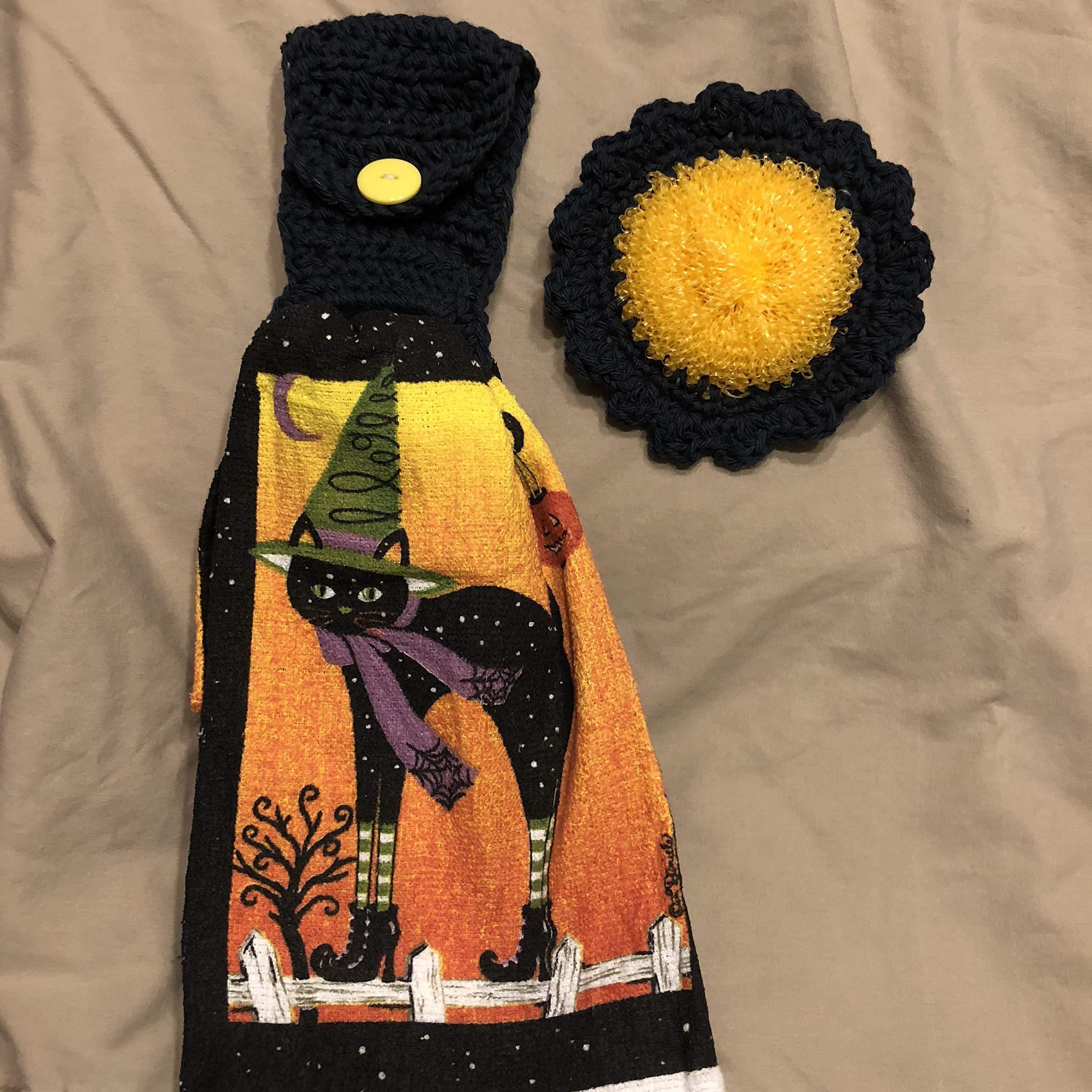 Free ship to USA - 3 piece set - Halloween Black Cat High Heels - 1 CROCHET Plastic Scrubber, Towel holder & KITCHEN hand TOWEL light weight terry cloth - Black 100% cotton yarn