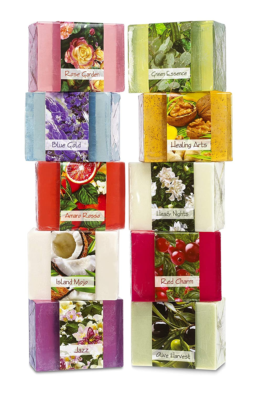Full Bloom Vegetable Glycerin Bar Soap, 10 Bar Sampler Set # 2, Amaro Rosso, Island Mojo, Red Charm, Blue Gold, Healing Arts, Rose Garden, Olive Harvest, Jazz, Green Essence, and Heady Nights