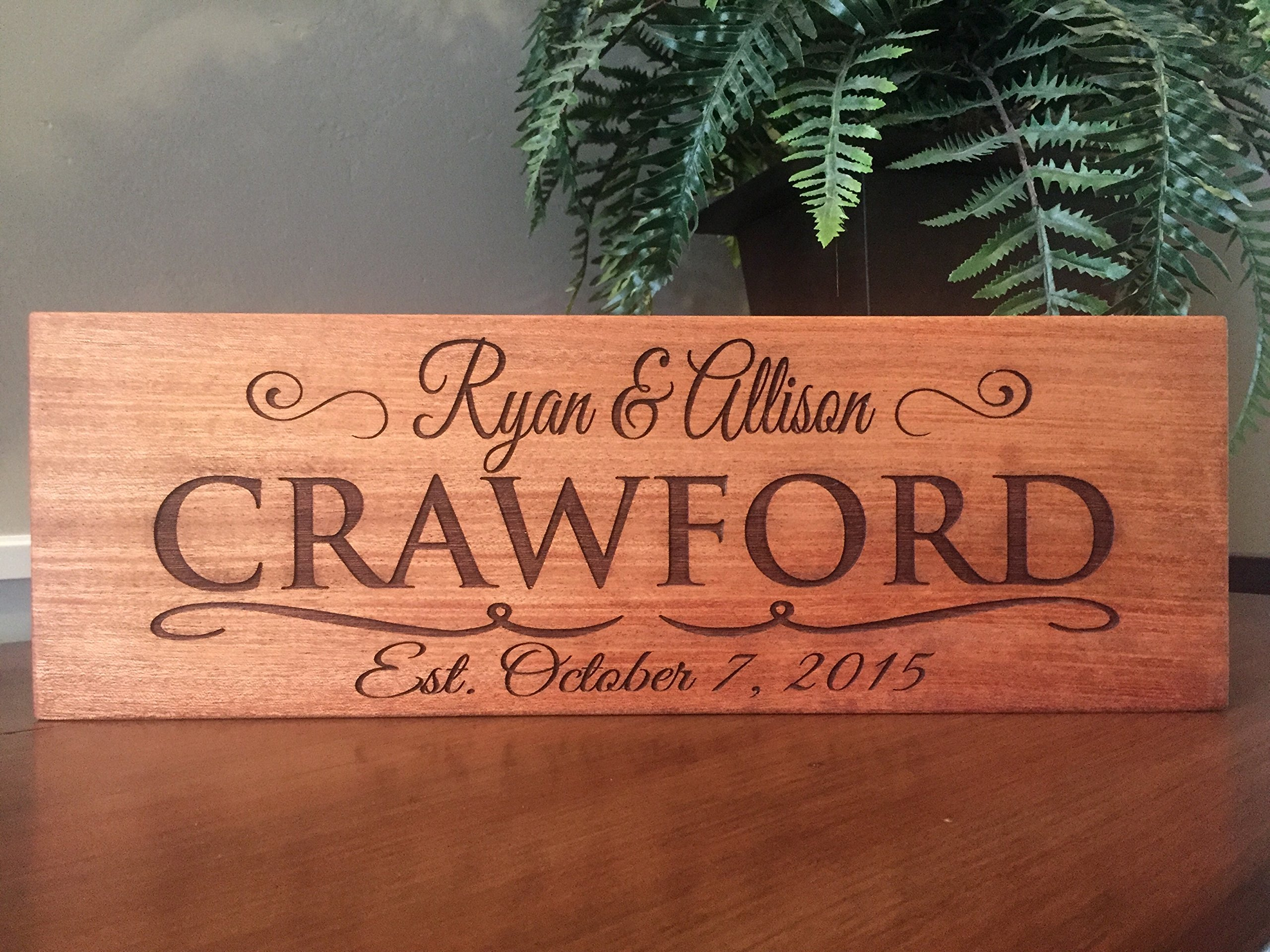 Qualtry Wedding Gifts for The Couple - Personalized Engraved Wedding Gifts Wooden Family Name Signs 5x15 (Mahogany Wood, Crawford Design)