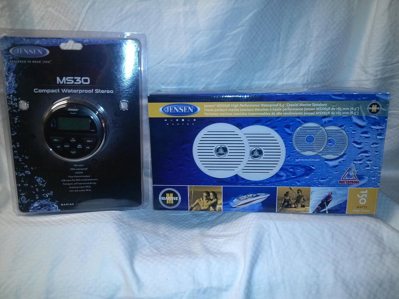 Amazon.com: Jensen MS30BT Compact Bluetooth Marine Stereo + MSX65R ...