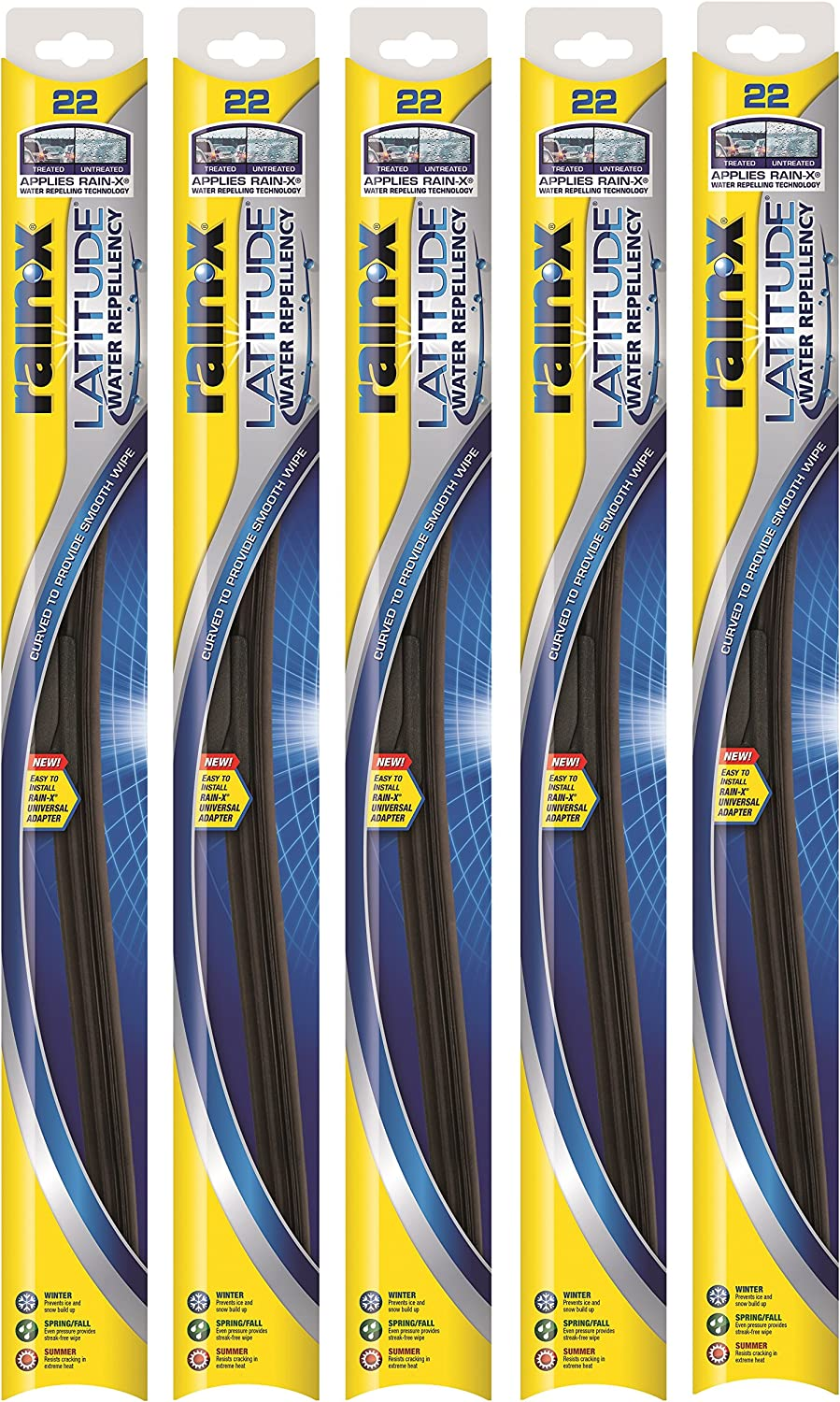 "Pack of 5 Rain-X 21/"" Latitude Wiper Blades"