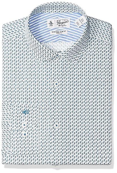 b4e5b4665cc8b Penguin - Camisa de Manga Corta para Hombre con Estampado de Lagarto Azul