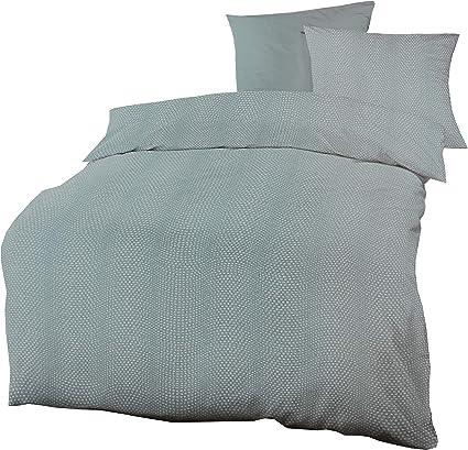 Schlafgut Bettwäsche Set 135 x 200 Mako Satin Baumwolle Weiß Blau Grün Türkis