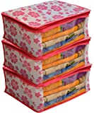 Kuber Industries™ Non Woven Saree Cover Pink Floral Design Set of 3 Pcs