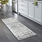Maples Rugs Abstract Diamond Modern Distressed Non Slip Runner Rug For Hallway Entry Way Floor Carpet [Made in USA], 2 x 6, N