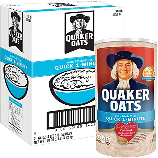 Quaker Oats Quick 1-Minute Oatmeal, Breakfast Cereal, 8 Pound
