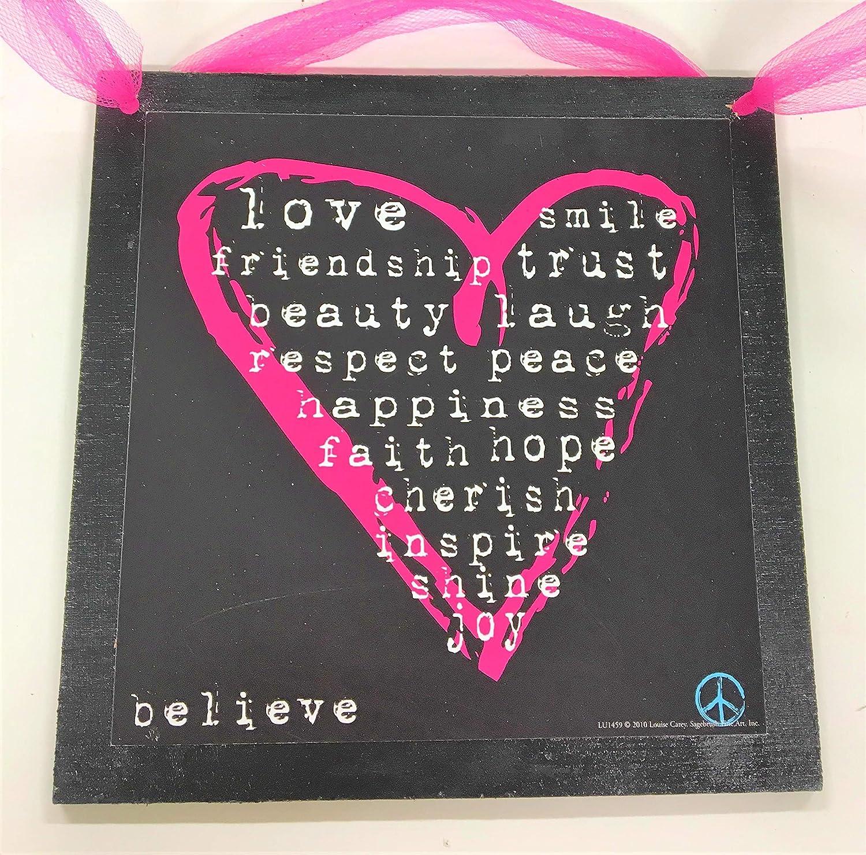 pink black heart peace sign girls bedroom room decor wall art