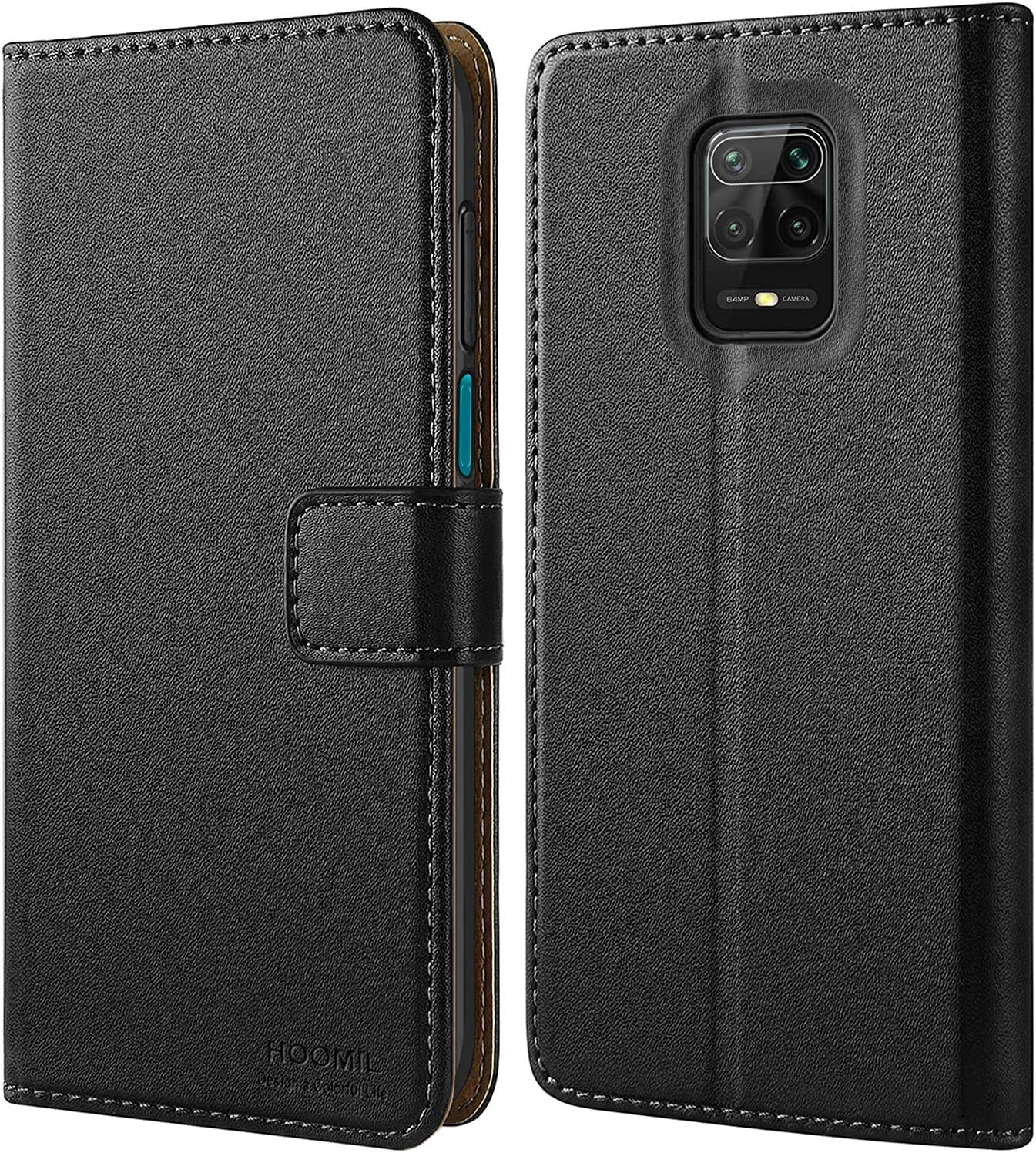HOOMIL Funda para Xiaomi Redmi Note 9S, Funda para Xiaomi Redmi Note 9 Pro, Funda de Cuero PU Premium Carcasa para Xiaomi Redmi Note 9S/Redmi Note 9 Pro (Negro)