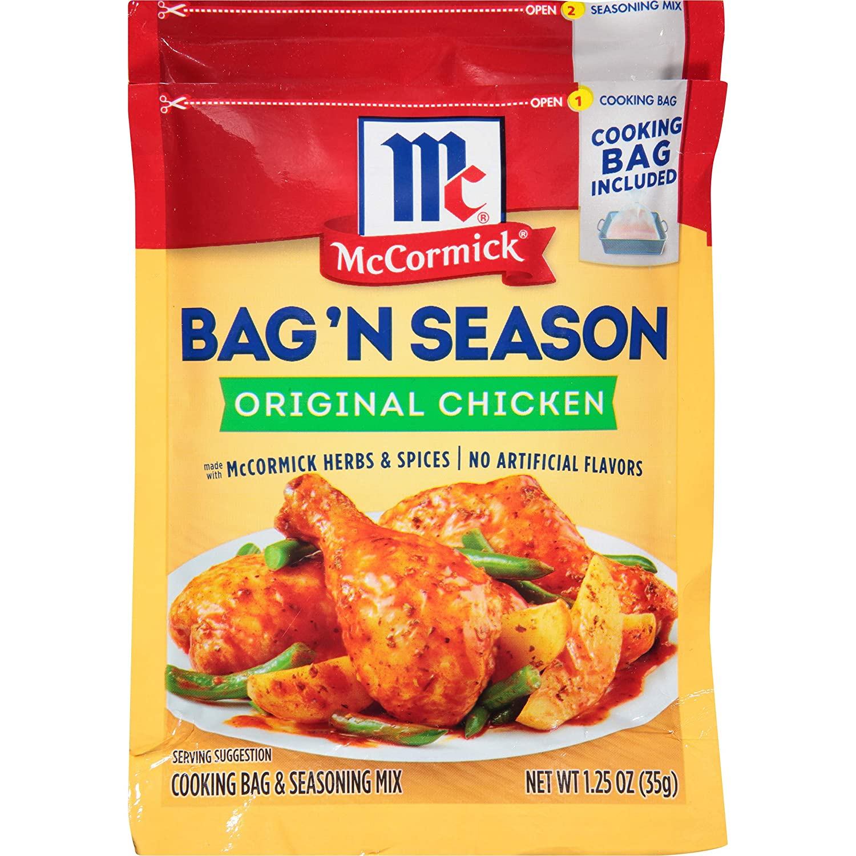 McCormick Bag 'n Season Original Chicken Cooking & Seasoning Mix, 1.25 oz (Pack of 6)