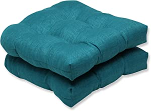 Pillow Perfect Indoor/Outdoor Rave Teal Wicker Seat Cushion, Set of 2