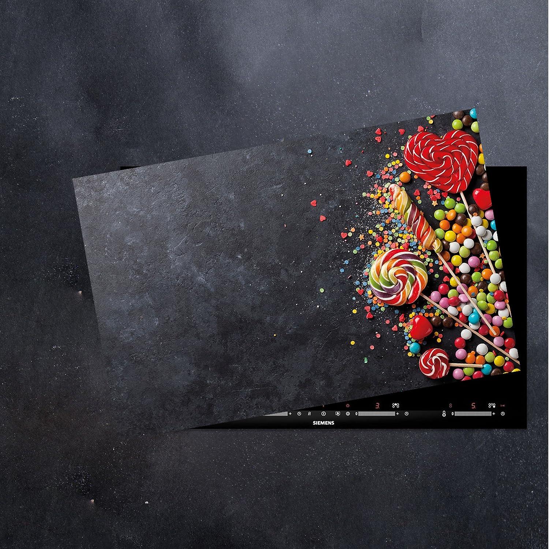 CTC-Trade Herdabdeckplatten 80x52cm Ceranfeld Abdeckung Glas Spritzschutz Abdeckplatte Glasplatte Herd Ceranfeldabdeckung S/ü/ßigkeiten Schwarz Rot