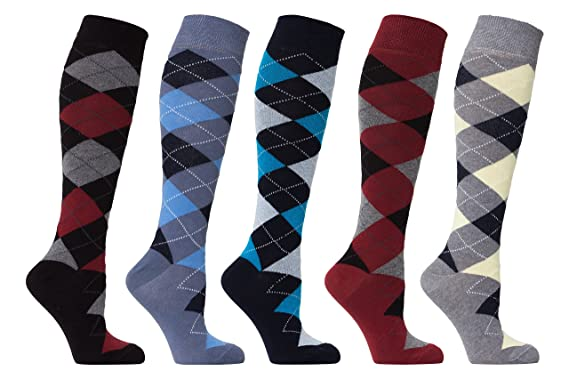7d5203bd11b Socks n Socks - Women s 5-pair Argyle Design Turkish Cotton Knee high Socks