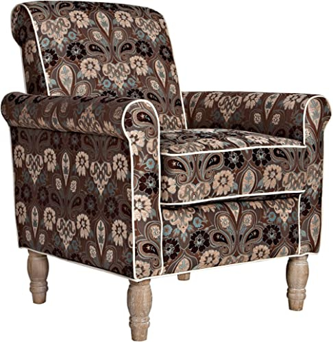 angelo:HOME Harlow Vintage Brown and Blue Floral Garden Chair