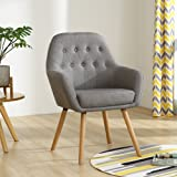 LSSBOUGHT Contemporary Stylish Button-Tufted Upholstered Accent Chair with Solid Wood Legs (Gray)