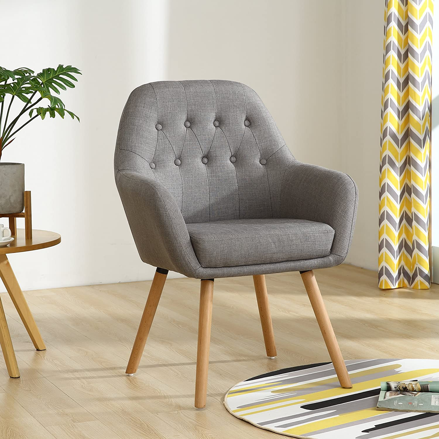 Amazon com lssbought contemporary stylish button tufted upholstered accent chair with solid wood legs gray kitchen dining
