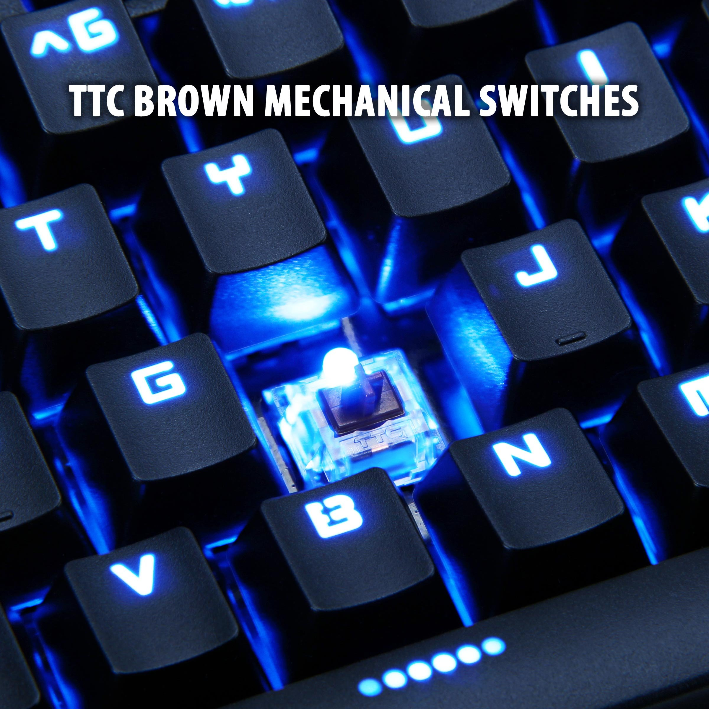 ENHANCE GX-K5 FPS Mechanical Gaming Keyboard with Blue LED Backlighting & TTC Brown Tactile Switches – Great for Counter-Strike: Global Offensive , Overwatch , Call of Duty: Black Ops III & More Games by ENHANCE (Image #4)
