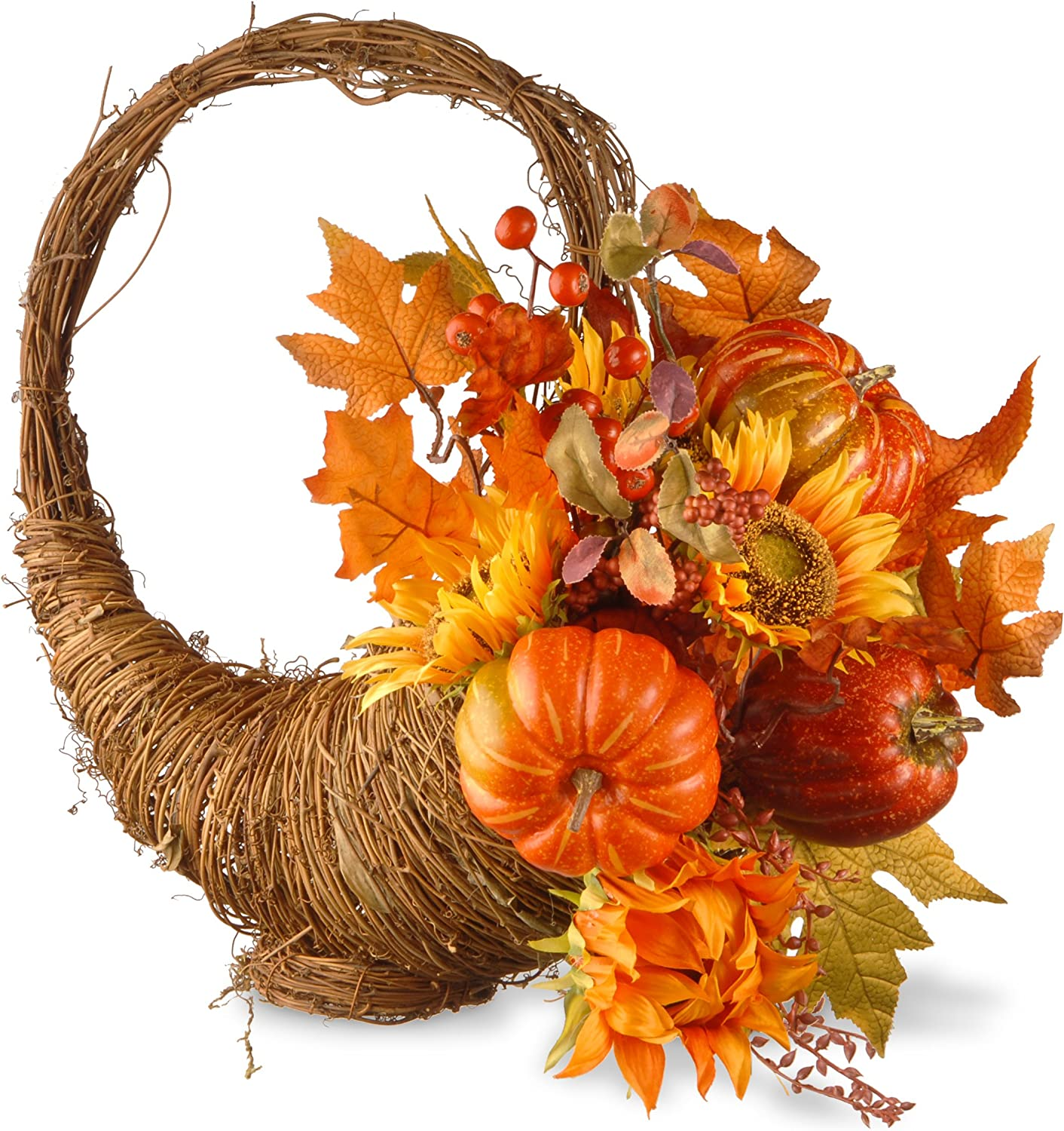 National Tree Company Artificial Autumn Hanging Décor | Flocked with Mixed Decorations | Woven Basket - 22 Inch